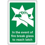 In The Event Of Fire Break Glass To Reach Latch
