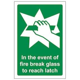 In The Event Of Fire Break Glass To Reach Latch