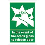In The Event Of Fire Break Glass To Release Door
