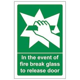 In The Event Of Fire Break Glass To Release Door
