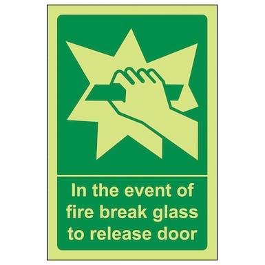 GITD In The Event Of Fire Break Glass To Release Door