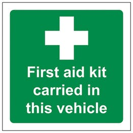 First Aid Kit Carried In This Vehicle - Window Sticker