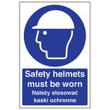 English/Polish - Safety Helmets Must Be Worn