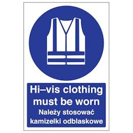English/Polish - Hi-Vis Clothing Must Be Worn