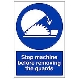 Stop Machine Before Removing Guard - Portrait