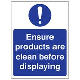 Ensure Products Are Clean Before Displaying