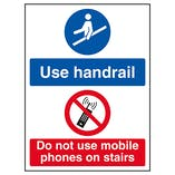 Use Handrail / Do Not Use Mobile Phones On Stairs