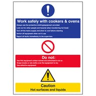 Work Safely With Cookers & Ovens - Portrait