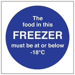 The Food In This Freezer Must Be At Or Below -18C