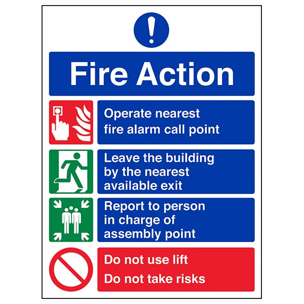 4 Point Fire Action Notice - Do Not Use Lift