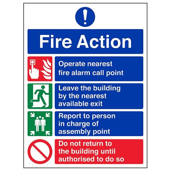 4 Point Fire Action Notice - Prohibition Safe