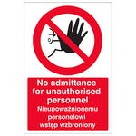 English/Polish - No Admittance For Unauthorised Personnel