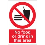 No Food Drink In This Area - Polycarbonate