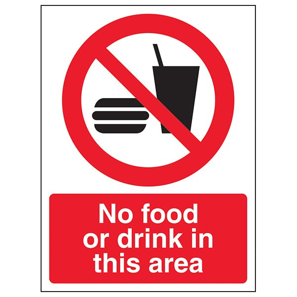 No Food Or Drink In This Area - Window Sticker