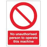 No Unauthorised Persons Operate - Portrait
