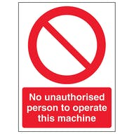 No Unauthorised Persons Operate - Portrait