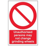Unauthorised Persons Grinding Wheels - Portrait