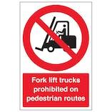 Fork Lift Trucks Prohibited On - Portrait