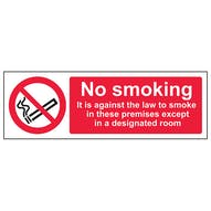 No Smoking Except In Designated Room - Landscape