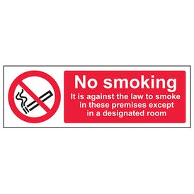 It Is Against The Law To Smoke In These Premises Except In A Designated Room - Landscape