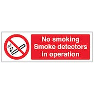 No Smoking - Smoke Detectors In Operation - Landscape
