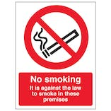 No Smoking In These Premises - Window Sticker