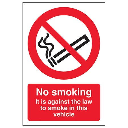 It Is Against The Law To Smoke In This Vehicle