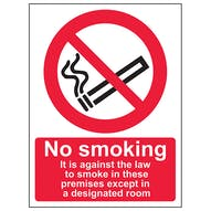No Smoking Except In Designated Room - Portrait