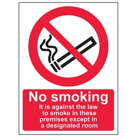 It Is Against The Law To Smoke In These Premises Except In A Designated Room - Portrait