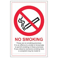 No Smoking - A Complaint May Be Made To