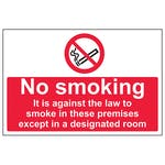 No Smoking In These Premises Except In A Designated Room