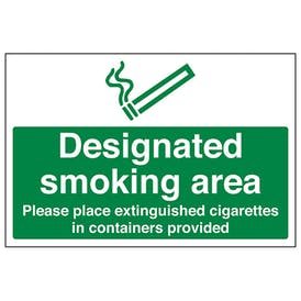 Designated Smoking Area Please Place Extinguished Cigarettes In Container Provided