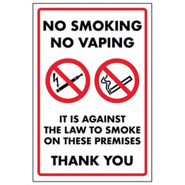 No Smoking No Vaping It Is Against The Law To Smoke On These...