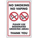 No Smoking No Vaping Please Use Designated Smoking Areas Thank...