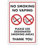 No Smoking No Vaping Please Use Designated Smoking Areas Thank...