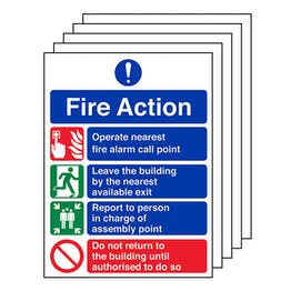 5-Pack 4 Point Fire Action Notice
