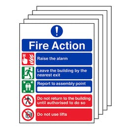 5-Pack 5 Point Fire Action Notice/Do Not Use Lifts