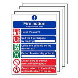 5-Pack 6 Point Fire Action - If You Discover A Fire