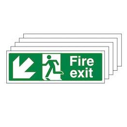 5-Pack Fire Exit Arrow Down Left