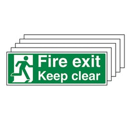 5-Pack GITD Fire Exit Keep Clear With Man