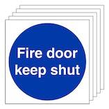 5-Pack GITD Fire Door Keep Shut