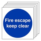 5-Pack Fire Escape Keep Clear