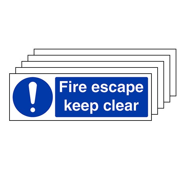5-Pack Fire Escape Keep Clear - Landscape