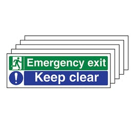 5-Pack Emergency Exit/Keep Clear - Landscape