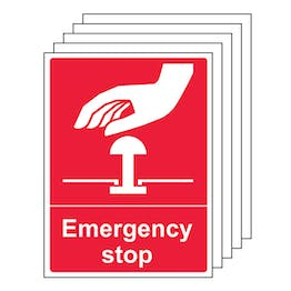 5-Pack Emergency Stop - Red
