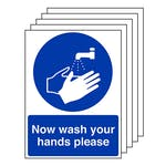 5-Pack Now Wash Your Hands Please