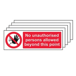 5-Pack No Unauthorised Persons - Landscape