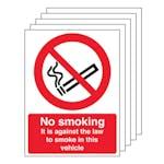 5-Pack No Smoking - Vehicle Sticker
