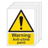 5-Pack Warning Anti-Climb Paint - Portrait