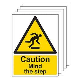 5-Pack Caution Mind The Step - Portrait